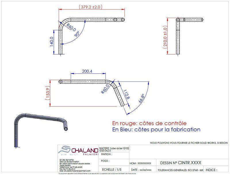 Cotation d'un tube cintré avec des parties droites