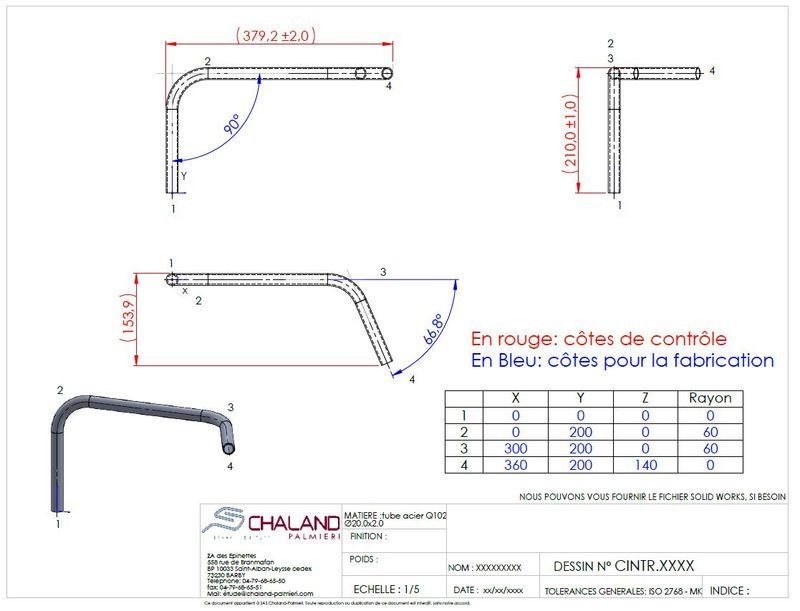 Cotation d'un tube cintré en XYZ